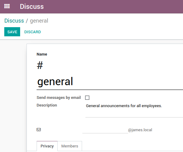 Odoo email alias on a discuss channel