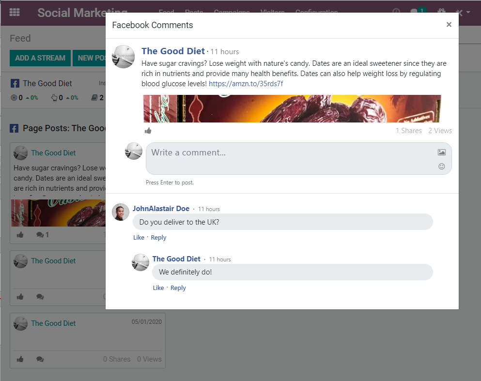 Odoo - Social Marketing Comments