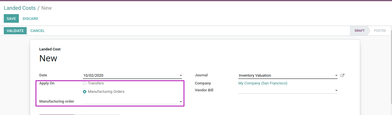 Odoo - Landed Costs